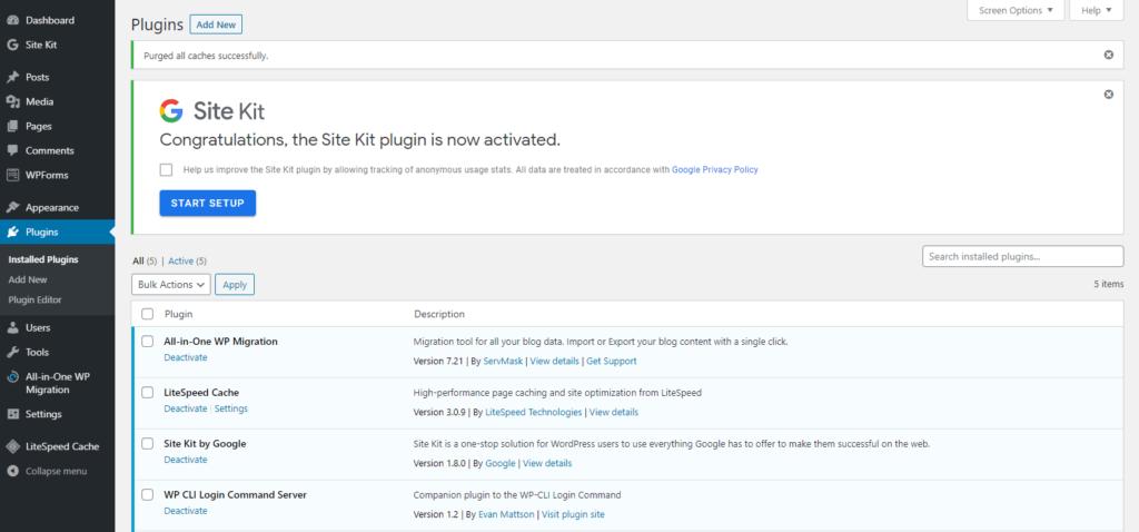 Activate Google Site Kit Plugin