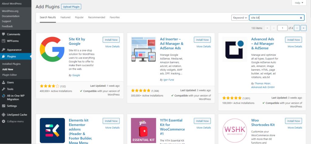 Search Google Site Kit Plugin